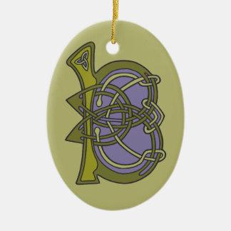 Celtic Knot letter initial monogram B Ceramic Ornament
