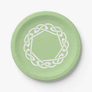 Celtic Knot - light green 7 Inch Paper Plate