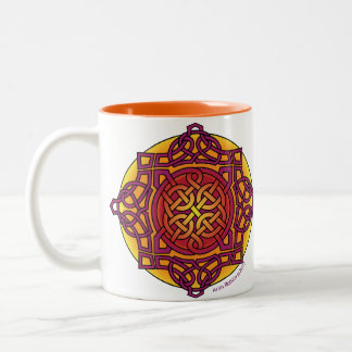 Celtic Knot Medallion Mug_ warm tones_ARD Two-Tone Coffee Mug