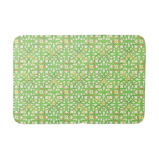 Celtic Knot Modern Basketweave Braid Green Pattern Bath Mat