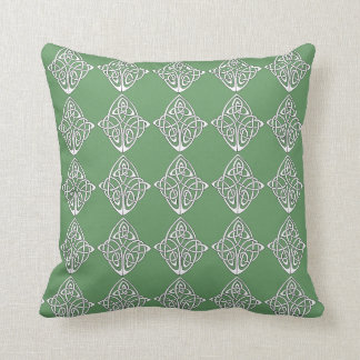 Celtic knot on green background throw pillow