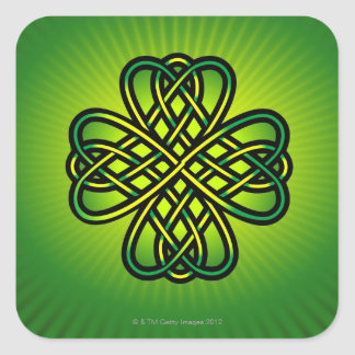 Celtic Knot on green glow Square Sticker