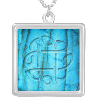 Celtic knot on labradorite silver plated necklace