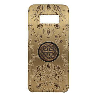 Celtic Knot on Metallic Gold Damask Galaxy S8 Case