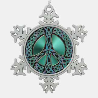 Celtic Knot Peace Sign Snowflake Ornament