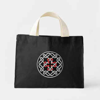 Celtic Knot Red Metallic Tiny Black Tote