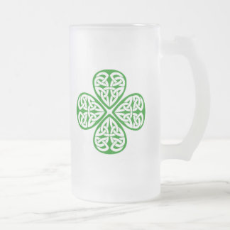 Celtic Knot Shamrock Frosted Glass Beer Mug