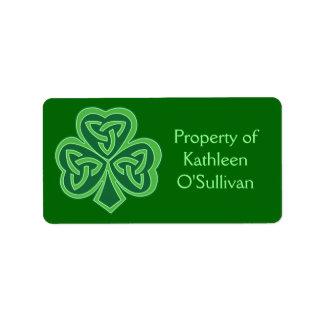 Celtic Knot Shamrock Label