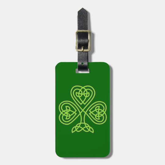 celtic knot shamrock luggage tag