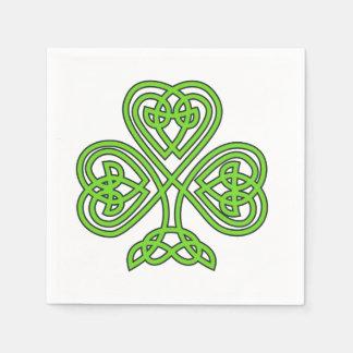 Celtic Knot Shamrock on White Paper Napkin