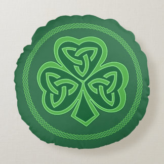 Celtic Knot Shamrock Round Pillow