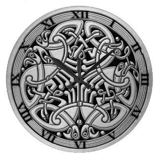Celtic Knot Silver Birds & Black-Rnd. Clock