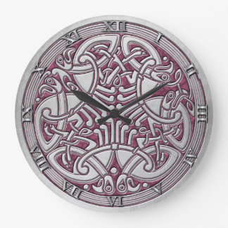 Celtic Knot Silver Birds & Pink-Rnd. Clock