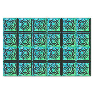 Celtic Knot - Square Tile Blue Green Tissue Paper