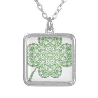 Celtic Knot Style Four Leaf Clover Design Square Pendant Necklace
