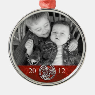Celtic Knot Triskelion Red Christmas Photo Ornam Metal Ornament