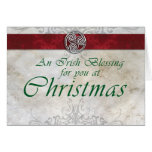 Celtic Knot Triskelion Red & Green Christmas Card
