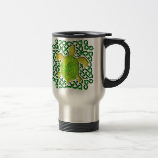 Celtic Knot Turtle (Green) Travel Mugs