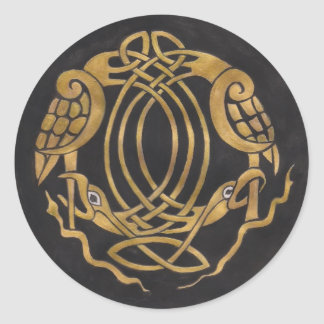 Celtic Knot with Birds Classic Round Sticker