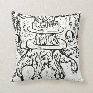 Celtic Knot World Tree Black Woodcut Print Throw Pillow