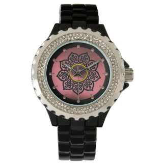 CELTIC KNOTS FLOWER AND PINK AMETHYST GEM STONES WRISTWATCHES