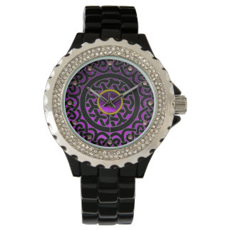 CELTIC KNOTS FLOWER AND PURPLE AMETHYST GEM STONES WATCH