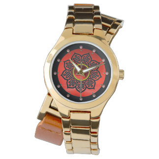 CELTIC KNOTS FLOWER AND RED RUBY GEM STONES WRISTWATCH