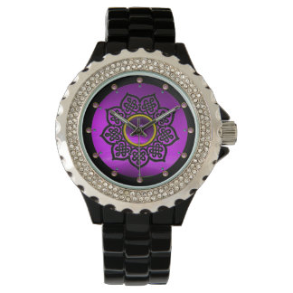CELTIC KNOTS FLOWER PURPLE AMETHYST GEMSTONES WATCH
