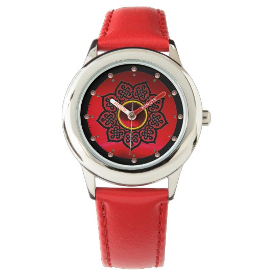 CELTIC KNOTS FLOWER , RED BURGUNDY RUBY GEM STONES WATCH