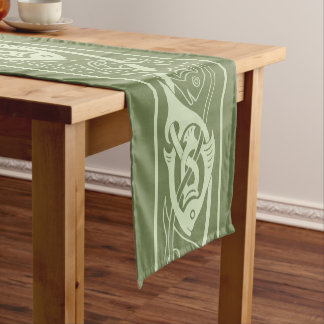 Celtic Knotwork Fish in Green Short Table Runner