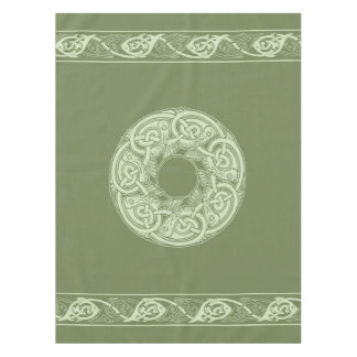 Celtic Knotwork Fish in Green Tablecloth