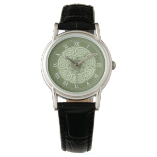 Celtic Knotwork Fish in Green Wrist Watches