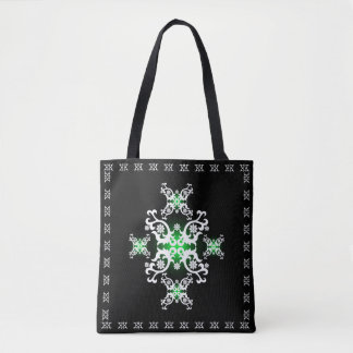 Celtic Lace Black Green White Tote Bag