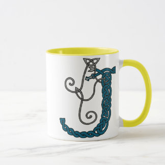 Celtic Letter J mug (right)