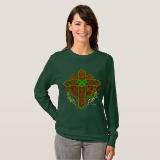 Celtic Lion Cross Ladies Long Sleeve Shirt