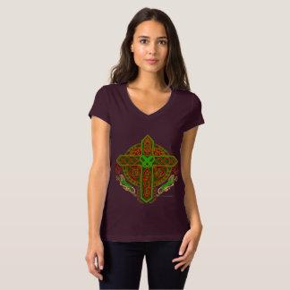 Celtic Lion Cross Ladies V-Neck Jersey Tee