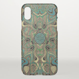 Celtic Mandala In Gold Blue Green With Monogram iPhone X Case