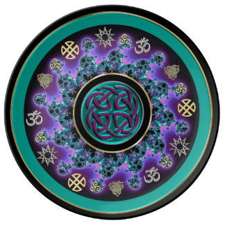 Celtic Mandala in Green with Mystical Symbols. Porcelain Plates