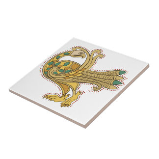 Celtic Medieval Golden Peacock Ceramic Tile