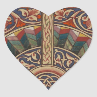 Celtic Medieval Half Circle Design Heart Sticker