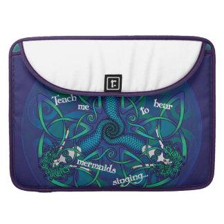 Celtic Mermaid Mandala in Blue and Green MacBook Pro Sleeves