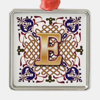 Celtic Monogram Letter E Metal Ornament