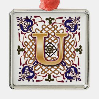 Celtic Monogram Letter U Silver-Colored Square Ornament