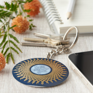 Celtic Moon Basic Round Button Keychain