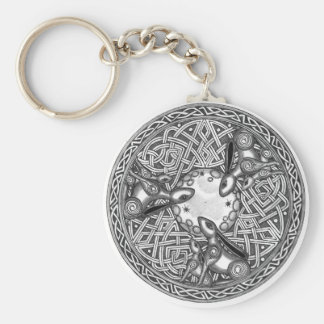 Celtic,Moon Watching Hare's Basic Round Button Keychain