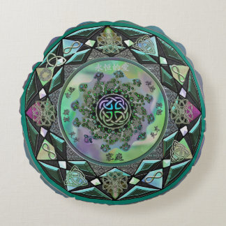 Celtic Mystical Mandala Round Throw Pillow