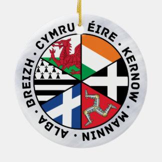 Celtic Nations Flags Decoration Round Ceramic Ornament