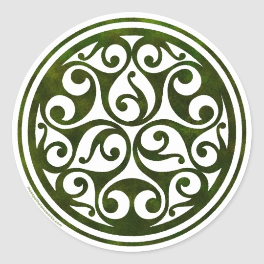 Celtic ornament design from mosspathstoneworks.com classic round sticker