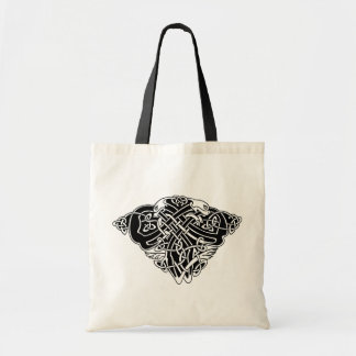 celtic pattern with animals - black and white
