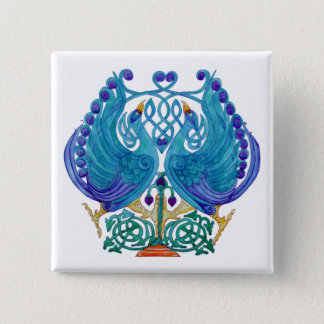 Celtic Peacocks Square Button Badge